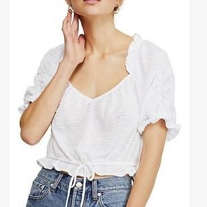 Free People Dorothy Puffer Sleeve Boho Blouse Top